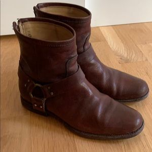 Frye Phillip harness short brown boots zipper 9